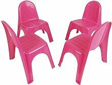 Kinderstühle 4er Set Stapelstühle Gartenstühle Stuhl Kleinkind Sitz Kindermöbel, Farbe:pink
