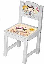 Kinderstuhl Kindertisch Kindermöbel massiv Holz weiß mit Motiv Größe 1 Stuhl, Farbe Beste Freundin aprico