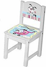 Kinderstuhl Kindertisch Kindermöbel massiv Holz weiß mit Motiv Größe 1 Stuhl, Farbe Hund Hubschrauber blau