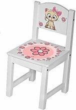Kinderstuhl Kindertisch Kindermöbel massiv Holz weiß mit Motiv Größe 1 Stuhl, Farbe Katze rosa
