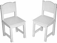 Kinderstuhl Kindertisch Kindermöbel massiv Holz weiß mit Motiv Größe 2 Stühle, Farbe Blanko weiß