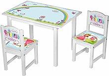Kinderstuhl Kindertisch Kindermöbel massiv Holz weiß mit Motiv Größe 2 Stühle + 1 Tisch, Farbe Prinzessin pink