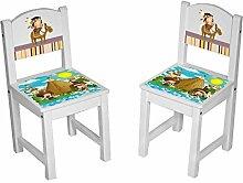 Kinderstuhl Kindertisch Kindermöbel massiv Holz weiß mit Motiv Größe 2 Stühle, Farbe Indianer bun