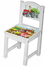 Kinderstuhl Kindertisch Kindermöbel massiv Holz weiß mit Motiv Größe 1 Stuhl, Farbe Kleiner Traktor ro