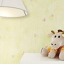 Kindertapete Grün Orange Schmetterlinge Blumen Gras Tiere , süße Tapete für Babyzimmer oder Kinderzimmer , inklusive Newroom Tapezier Hilfe , Mädchen Jungen Jungs Baby