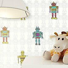 Kindertapete im Roboter Design Türkis, Gelb, Grün | schöne tolle Tapete für Jungen und Mädchen | Deco Technik inklusive Newroom-Tapezier-Profibroschüre mit Tipps für perfekte Wände