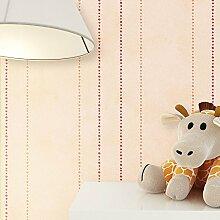Kindertapete Streifen Beige Rot Orange süße Punkte , süße Tapete für Babyzimmer oder Kinderzimmer , inklusive Newroom Tapezier Hilfe , Jungen Mädchen Jungs Baby Creme