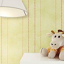 Kindertapete Streifen Grün Rot Orange süße Punkte , süße Tapete für Babyzimmer oder Kinderzimmer , inklusive Newroom Tapezier Hilfe , Jungen Mädchen Jungs Baby