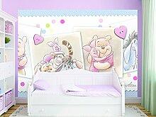 Kindertapete Wandtapete Disney Tapete für Kinderzimmer Winni Pooh Herzen 254x184 cm