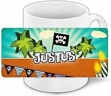 Kindertasse mit Namen Justus und schönem