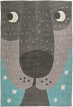 Kinderteppich aus Baumwolle mit Tiermotiv bedruckt