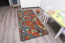 Kinderteppich BAUSTELLE - 160cm x 200cm, Schadstoffgeprüft, Anti-Schmutz-Schicht, Auto-Spielteppich für Jungen & Mädchen, Fußbodenheizung geeigne