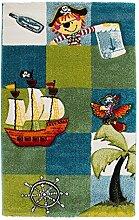 Kinderteppich Bettvorleger Spielunterlage Hochflor PIRAT 11   80x150 cm   Mehrfarbig   Piratenmotiv
