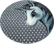 KINDERTEPPICH  Blau, Grau, Weiß