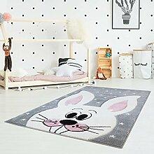Kinderteppich Bueno Hochwertig mit Hasen-Motiv in Grau, Rosa mit Konturenschnitt und Glanzgarn für Kinderzimmer Größe 80/150 cm