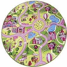 Kinderteppich Candy Town bunt rund - Spielteppich versandkostenfrei schadstoffgeprüft pflegeleicht antistatisch schmutzabweisend robust strapazierfähig Kinderzimmer Spielzimmer Kids Fun, Größe Auswählen:240 cm rund