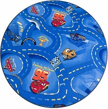 Kinderteppich Cars Blau rund - Spielteppich versandkostenfrei schadstoffgeprüft pflegeleicht antistatisch schmutzabweisend robust strapazierfähig Kinderzimmer Spielzimmer Fun Motiv Zeichentrick Comic , Größe Auswählen:100 cm rund
