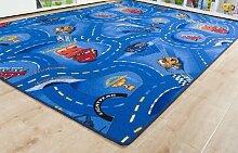 Kinderteppich Cars Blau - Spielteppich versandkostenfrei schadstoffgeprüft pflegeleicht antistatisch schmutzabweisend robust strapazierfähig Kinderzimmer Spielzimmer Kids Fun Motiv Zeichentrick Comic , Größe Auswählen:180 x 220 cm