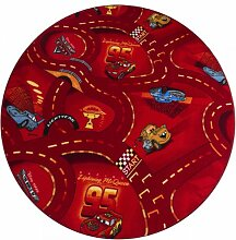 Kinderteppich Cars Rot rund - Spielteppich versandkostenfrei schadstoffgeprüft pflegeleicht antistatisch schmutzabweisend robust strapazierfähig Kinderzimmer Spielzimmer Kids Motiv Zeichentrick Comic, Größe Auswählen:150 cm rund