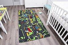 Kinderteppich CITY - 95cm x 200cm, Schadstoffgeprüft, Anti-Schmutz-Schicht, Auto-Spielteppich für Jungen & Mädchen, Verkehrsteppich Fußbodenheizung geeigne