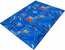 Kinderteppich Disney CARS Teppich Straßen Spielteppich 3 Farben 3 verschiedene Größen, Größe:ca. 122 x 183 cm;Farbe:blau