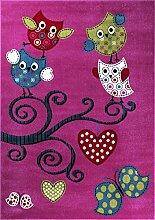Kinderteppich, Eulen Motiv, intensive Farben,