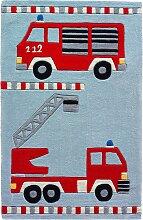 Kinderteppich Feuerwehr, rot (60/90 cm)