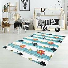 Kinderteppich Flachflor Moda Kids Spielteppich Fische Seesterne Blau 160x225cm