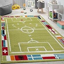 Kinderteppich Fußball Design Kurzflor Fußballfeld Spielteppich Weiß Grün, Grösse:120x170 cm