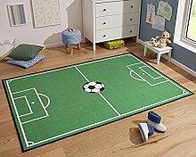 Kinderteppich Fußballteppich Spielteppich Fußballfeld grün, Größe:160x240 cm