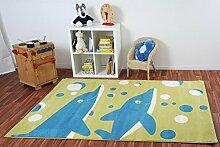 Kinderteppich Happy Friends Delfine Grün - Spielteppich versandkostenfrei schadstoffgeprüft pflegeleicht antistatisch schmutzabweisend robust strapazierfähig Kinderzimmer Spielzimmer Kids, Größe Auswählen:160 x 230 cm