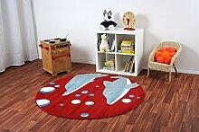 Kinderteppich Happy Friends Delfine Rot rund - Spielteppich versandkostenfrei schadstoffgeprüft pflegeleicht antistatisch schmutzabweisend robust strapazierfähig Kinderzimmer Spielzimmer Kids, Größe Auswählen:160 cm rund