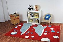 Kinderteppich Happy Friends Delfine Rot - Spielteppich versandkostenfrei schadstoffgeprüft pflegeleicht antistatisch schmutzabweisend robust strapazierfähig Kinderzimmer Spielzimmer Kids, Größe Auswählen:160 x 230 cm
