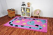Kinderteppich Happy Friends Dino Pink - Spielteppich versandkostenfrei schadstoffgeprüft pflegeleicht antistatisch schmutzabweisend robust strapazierfähig Kinderzimmer Spielzimmer Kids , Größe Auswählen:160 x 230 cm