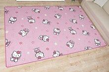 Kinderteppich Hello Kitty Pink nach Maß - Spielteppich versandkostenfrei schadstoffgeprüft pflegeleicht antistatisch schmutzabweisend robust strapazierfähig Kinderzimmer Spielzimmer Kids Fun , Größe Auswählen:100 x 200 cm
