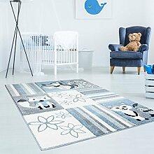 Kinderteppich Hochwertig Bueno mit Eichhörnchen und Fuchs im Karo-Muster in Blau, Weiß, Grau mit Konturenschnitt, Glanzgarn für Kinderzimmer Größe 160/160 cm Rund