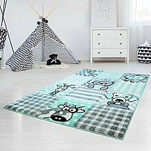 Kinderteppich Hochwertig mit Karo-Muster, Tieren/ Hund, Katze, Kuh, Giraffe in Pastell-Türkis mit Konturenschnitt, Glanzgarn für Kinderzimmer Größe 80/150 cm