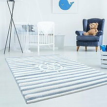 Kinderteppich Hochwertig mit Maritimen Muster, Schiff-Lenkrad, Gestreift in Blau-Weiß mit Konturenschnitt, Glanzgarn für Kinderzimmer Größe 160/230 cm