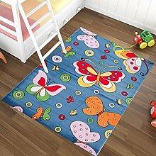 Kinderteppich in Blau KINDERZIMMER Teppich FÜR KINDER - MUSTER Schmetterling - OEKO-TEX 80 x 150 cm