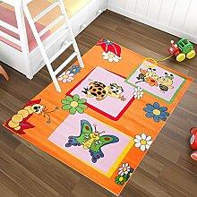 Kinderteppich in Orange KINDERZIMMER Teppich FÜR KINDER - MUSTER Biene Schmetterling - OEKO-TEX 80 x 150 cm