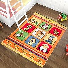 Kinderteppich in Orange KINDERZIMMER Teppich FÜR KINDER - MUSTER NIEDLICHE TIERE - OEKO-TEX 140 x 190 cm