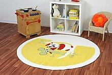 Kinderteppich Kiddy Brilliant Animaldots gelb rund - Spielteppich versandkostenfrei schadstoffgeprüft pflegeleicht antistatisch schmutzabweisend robust strapazierfähig Kinderzimmer Spielzimmer Kinder-Motiv Kids, Größe Auswählen:120 cm rund