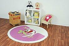 Kinderteppich Kiddy Brilliant Eule Pink - Spielteppich versandkostenfrei schadstoffgeprüft pflegeleicht antistatisch schmutzabweisend robust strapazierfähig Kinderzimmer Spielzimmer Kinder-Motiv Kids, Größe Auswählen:120 cm rund