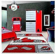 Kinderteppich Kinderzimmer Teppich mit motiven Formel 1 Rennwagen Kids 0460 Rot - 160x230 cm