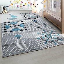 Kinderteppich Kinderzimmer Teppich mit motiven Marine Kids 0510 Grau Blau - 80x150 cm