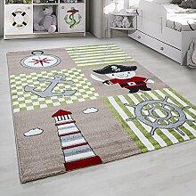 Kinderteppich Kurzflor Pirat Design Beige Gruen Weiss meliert Kinderzimmer verschidene Groeßen , Größe:80x150 cm