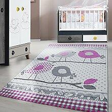 Kinderteppich Kurzflor Vogel Ast Grau Lila Weiss meliert Kinderzimmer Babyzimmer Jugendzimmer verschidene Groeßen , Größe:120x170 cm