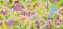 Kinderteppich Mädchenteppich Sweet Town Pink Straßenteppich Teppichboden Rollware Fertigteppich Spielteppich Kinderzimmer Spielzimmer Autoteppich Straßenmotiv Auslegware Meterware Straßenlandschaft Kinder Spielmatte Kleinstadt Schadstofffrei Spielunterlage Verkehrsteppich Schlingen 450 x 400 cm pink