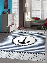 Kinderteppich Maritim Kinderzimmerteppich Jungen Teppich mit Anker in Blau Creme Größe 140x200 cm