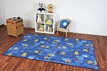 Kinderteppich Minions - Farbe wählbar: Blau, Türkis | Spielteppich versandkostenfrei schadstoffgeprüft pflegeleicht robust strapazierfähig Kinderzimmer Spielzimmer Kids Mädchen Jungen , Farbe:Blau, Größe:180 x 220 cm